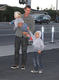 Gavin Rossdale's sons, Kingston Rossdale and Zuma Rossdale, wore matching sweatshirts.
