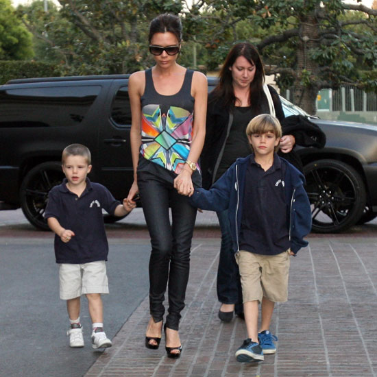 Victoria Beckham, Cruz, and Romeo stepped out to see a movie together in June 2010 in LA.
