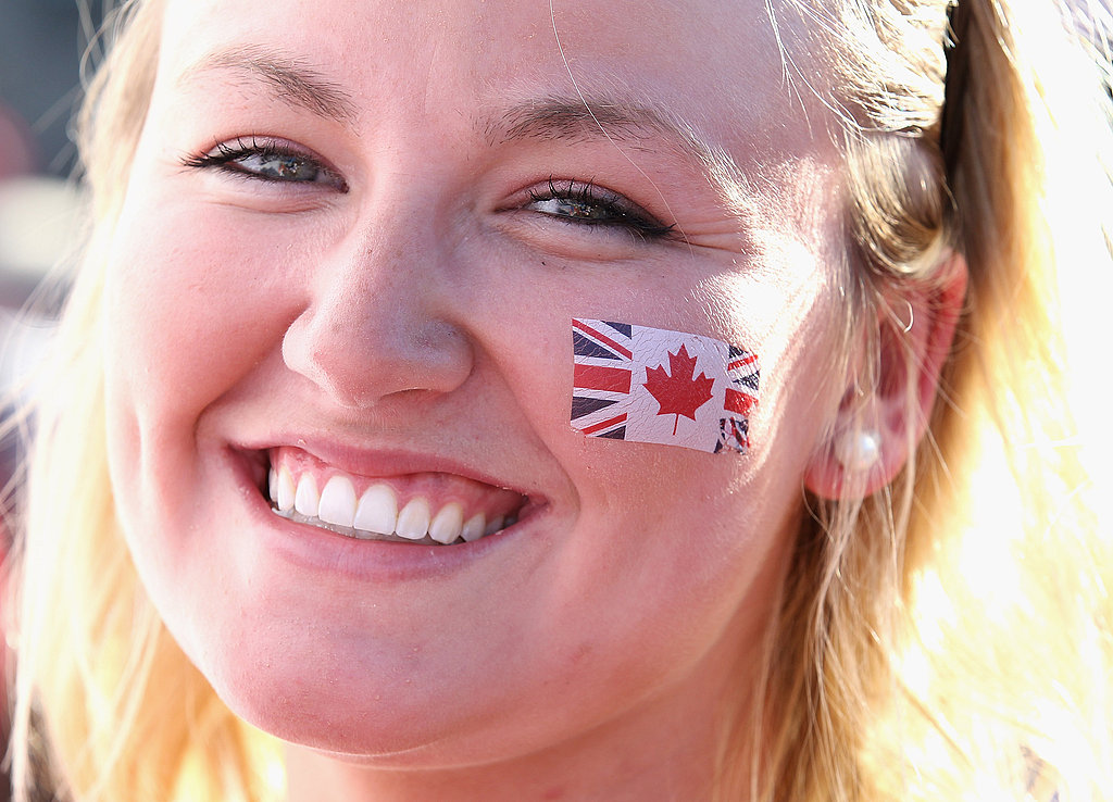 A Canadian pays tribute to the UK with her face paint.
