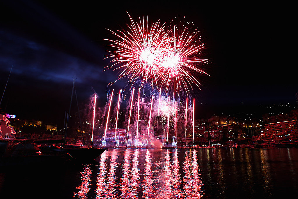 Colorful fireworks steal the show at a celebration for Princess Charlene of Monaco and Prince Albert II of Monaco.