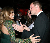 Prince William and Kate Middleton with Jennifer Lopez at BAFTA Brits to Watch dinner.