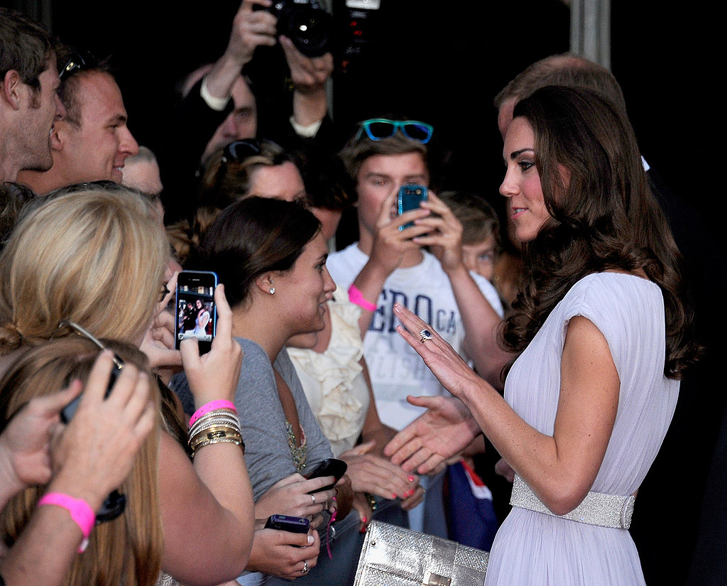 Kate Middleton with fans at BAFTA Brits to Watch dinner.