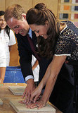 Prince William helps his wife Kate make hand prints in clay at Inner City Arts in LA.