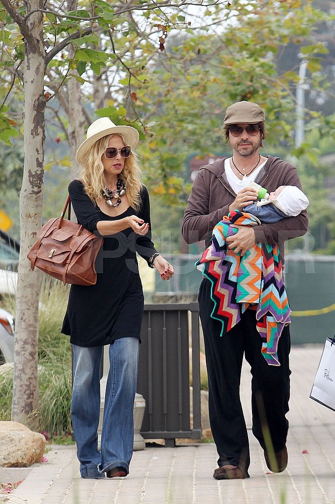 Rodger Berman carried Skyler Berman while mom Rachel Zoe walked alongside them.