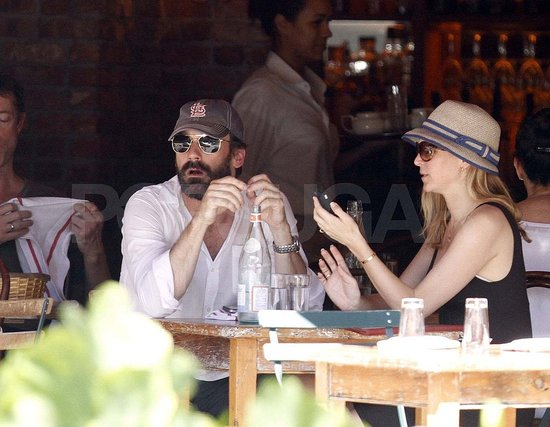 Jon Hamm and Jennifer Westfeldt have lunch in NYC.