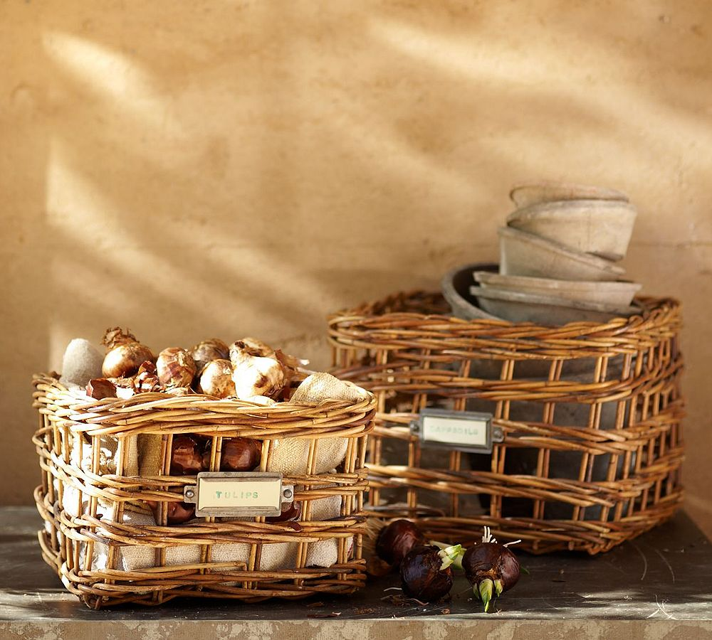 Lots of different open baskets are a stylish and practical outdoor addition. I really love the open design of these Palma Baskets ($13-$19) so I can check out what's inside.