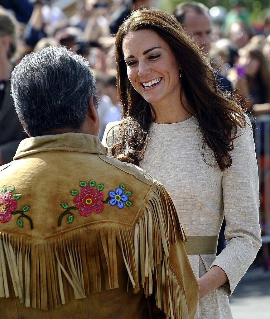 Kate Middleton greets a local resident in Northwest Territories, Canada.