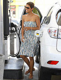 Halle Berry stopped to refuel her SUV in West Hollywood.