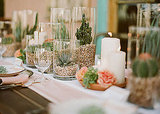 Use varying heights of glass vessels, filled with succulent potting soil and succulents, to create a party-perfect table runner. You can see more of this stunning table on Green Wedding Shoes.
