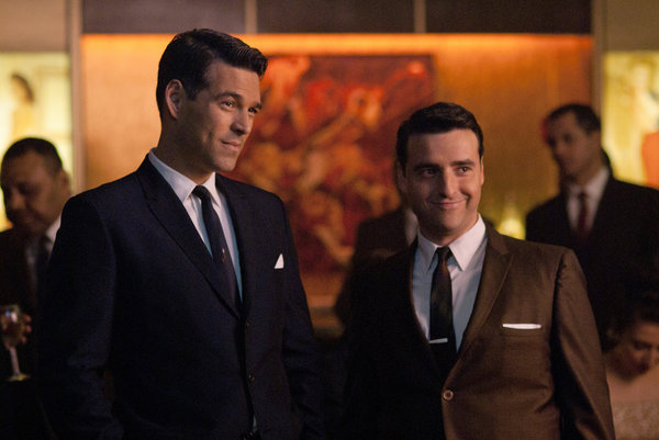 Eddie Cibrian as Nick Dalton and David Krumholtz as Billy on NBC&#039;s The Playboy Club.