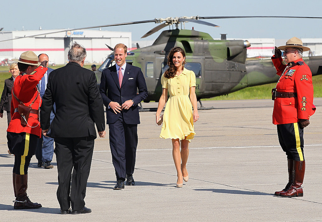 The Duke and Duchess were met by Canadian Mounties.