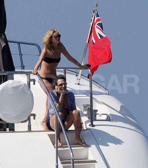Kate Moss and Jamie Hince continued their honeymoon in French waters.