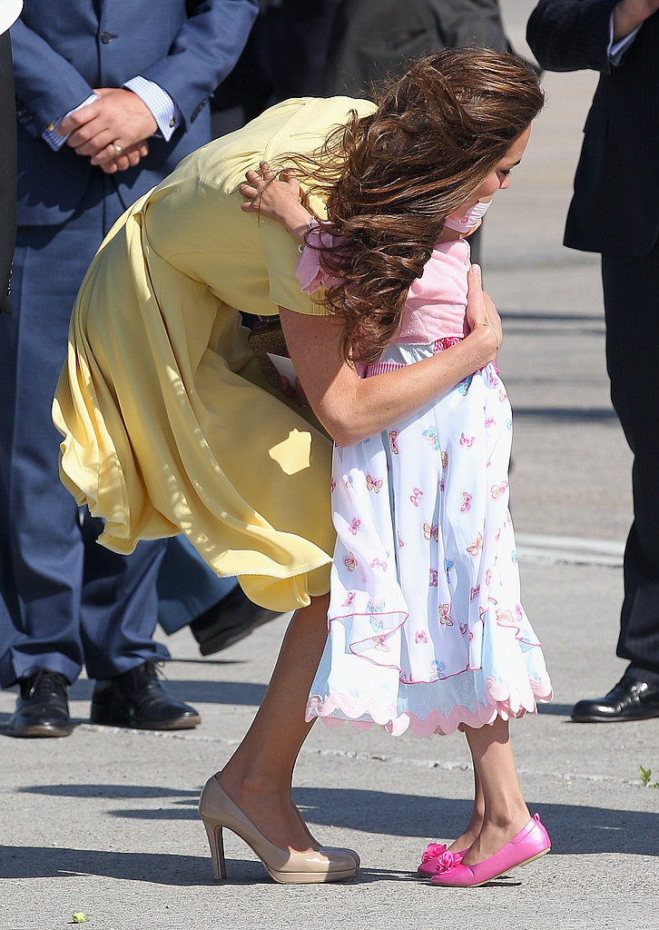 Kate Middleton happily gave out a hug.
