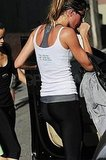 Gisele Bundchen wore a racerback sports bra to the gym.