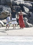 Victoria Beckham pregnant with David in Malibu.