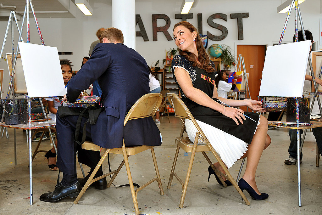 Will and Kate have a chat while they prepare to paint at Inner City Arts in LA.
