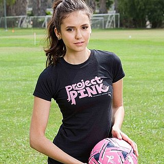 Nina Dobrev Playing Soccer in Puma Project Pink Pictures