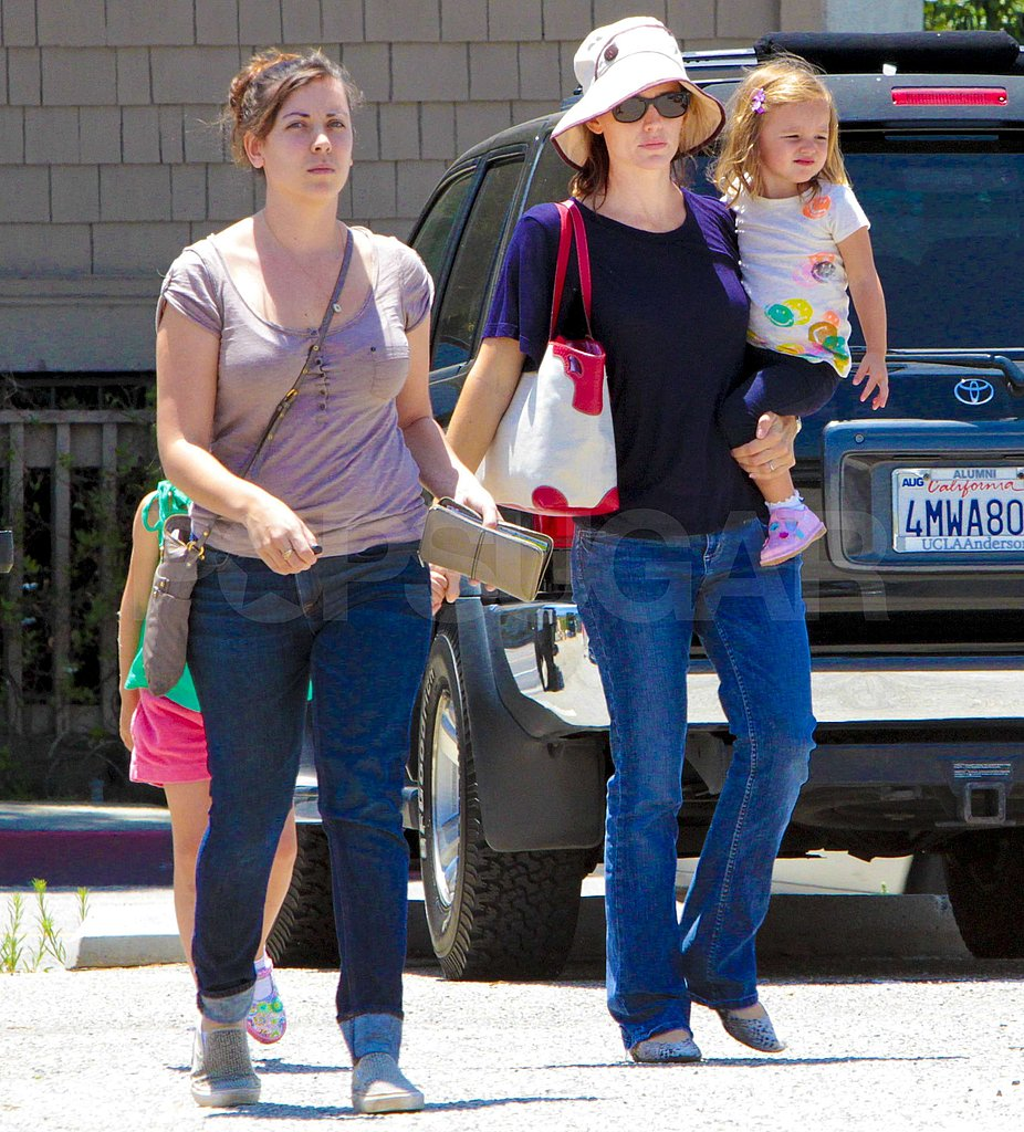 Seraphina got a ride in Jennifer Garner's arms.