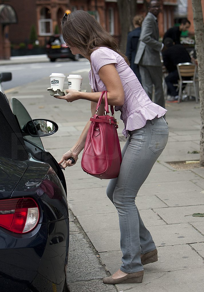 Pippa Middleton with her car in London.