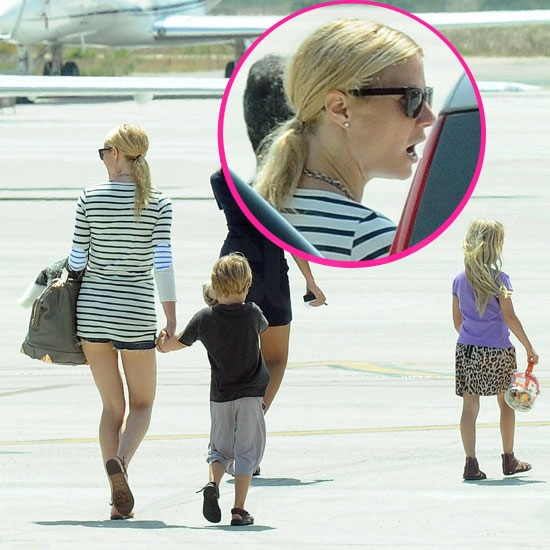 Gwyneth Paltrow Packs Up Her Bikinis and Leaves Sardinia With Apple and Moses