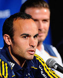 Landon Donovan wore the LA Galaxy blue and gold colors for the press event.