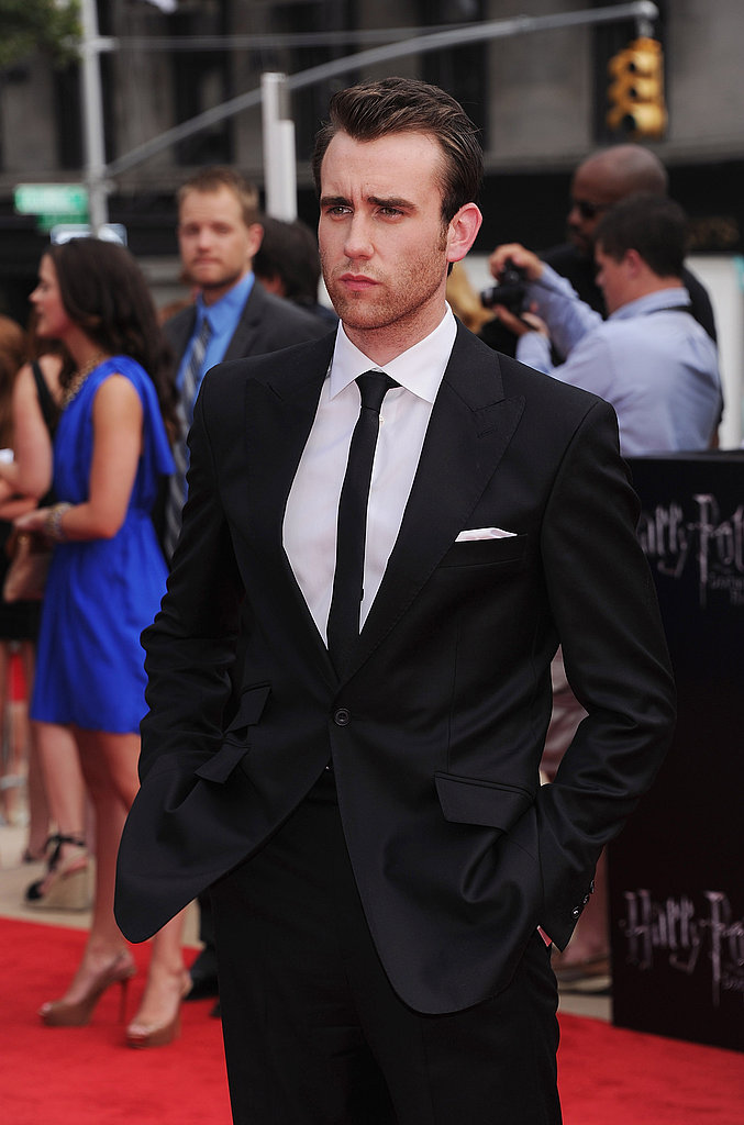 Matthew Lewis giving the model look at the NYC premiere of the final Harry Potter film.