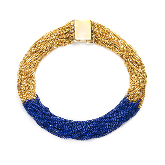 Lee Angel 22 Strand Blue and Gold Necklace, $300