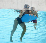 Lynne Spears and Jayden James Spears floated in the pool.