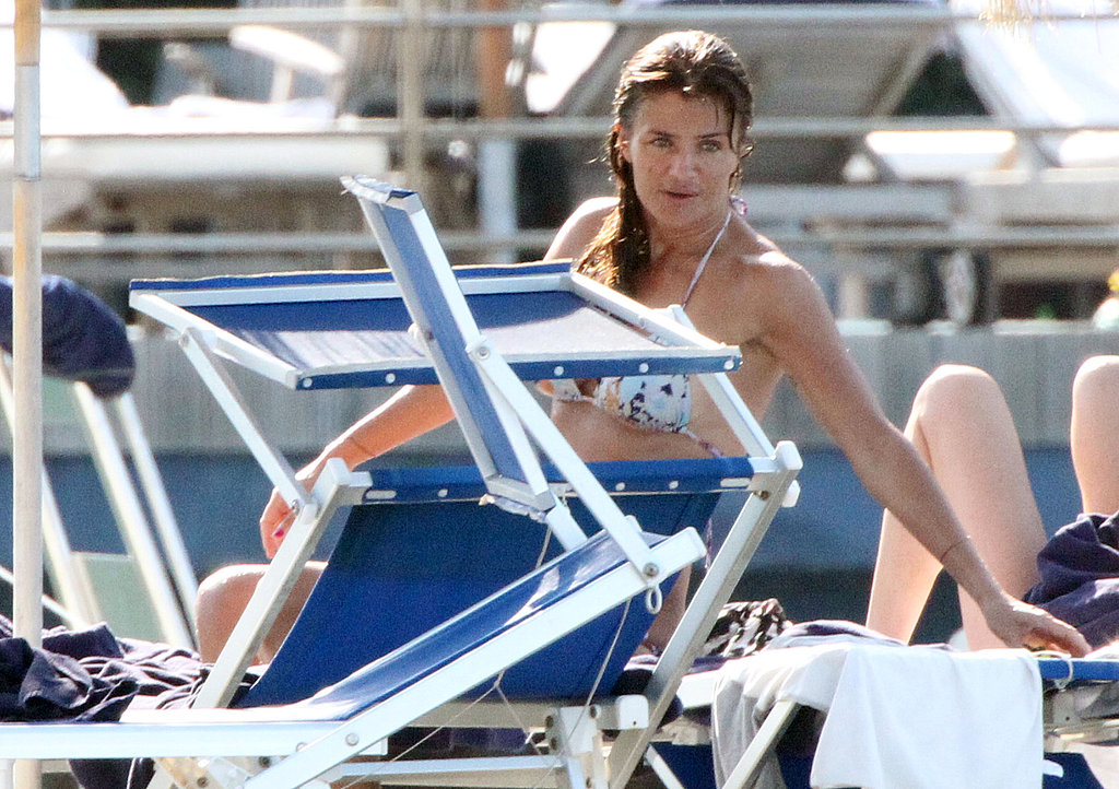 Helena Christensen at the beach in Italy.
