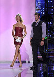 Brooklyn Decker and Tim Tebow walked side-by-side to present a trophy.