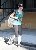 Ashley Greene left the gym with a large workout bag.
