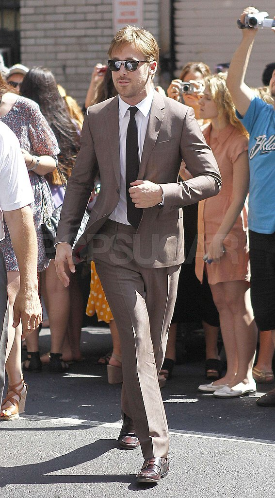 Ryan Gosling sported shades and a skinny tie.