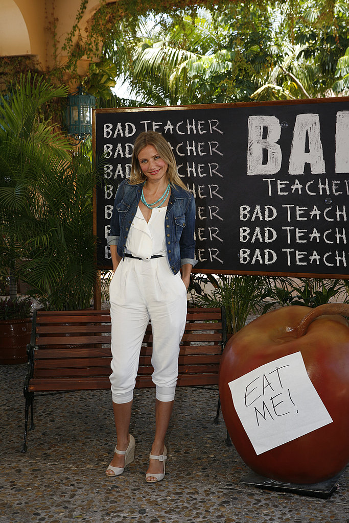Cameron Diaz wore white and denim to her latest photocall.