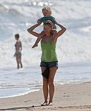 Naomi Watts at the beach with son Samuel.