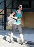 Ashley Greene left her workout drenched in sweat.