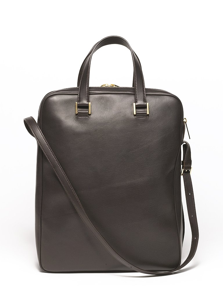 Twin Lambskin Double Zip Laptop Bag in Black