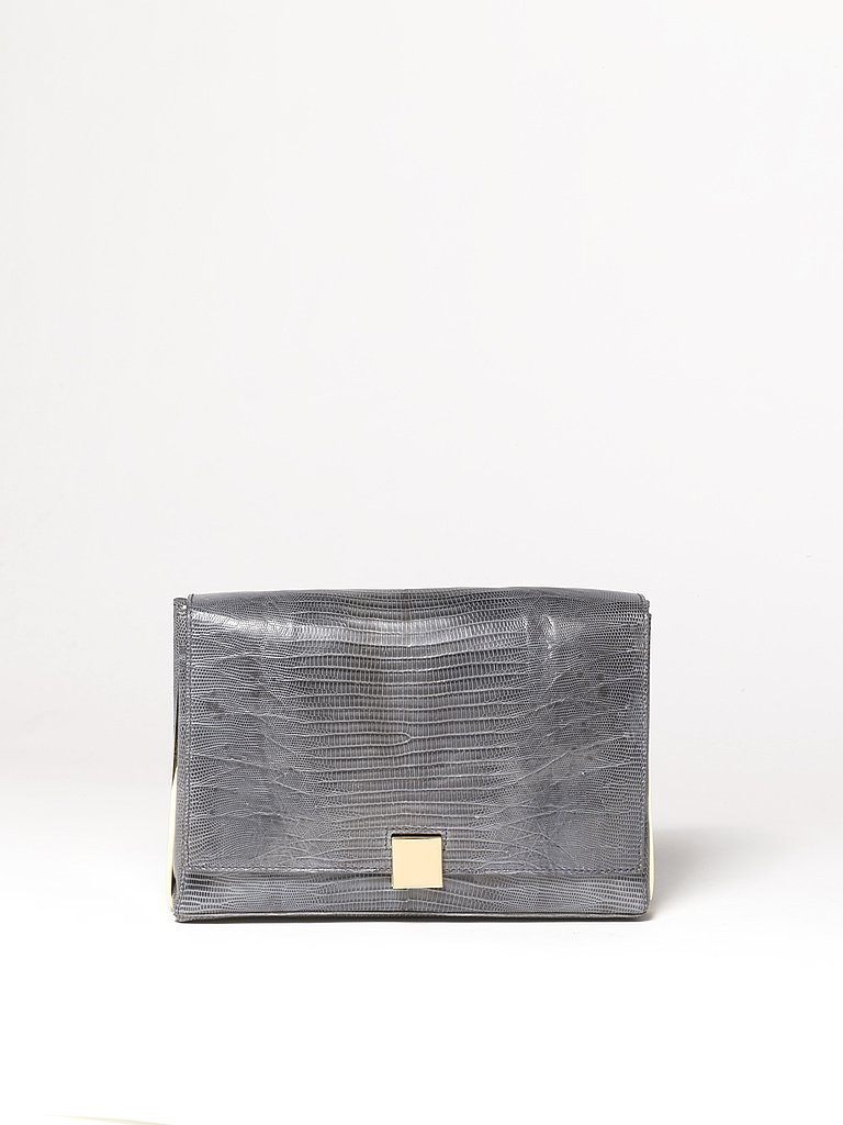 Metal Frame Lizard Clutch in Grey
