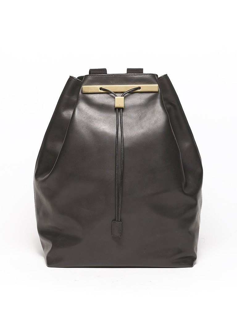 Drawstring Calfskin Backpack in Black
