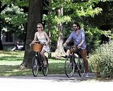 Rachel McAdams and Michael Sheen biked through Queen's Park.