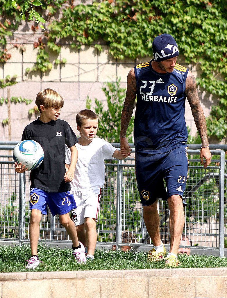 David Beckham, Cruz Beckham, and Romeo Beckham were at the LA Galaxy training.