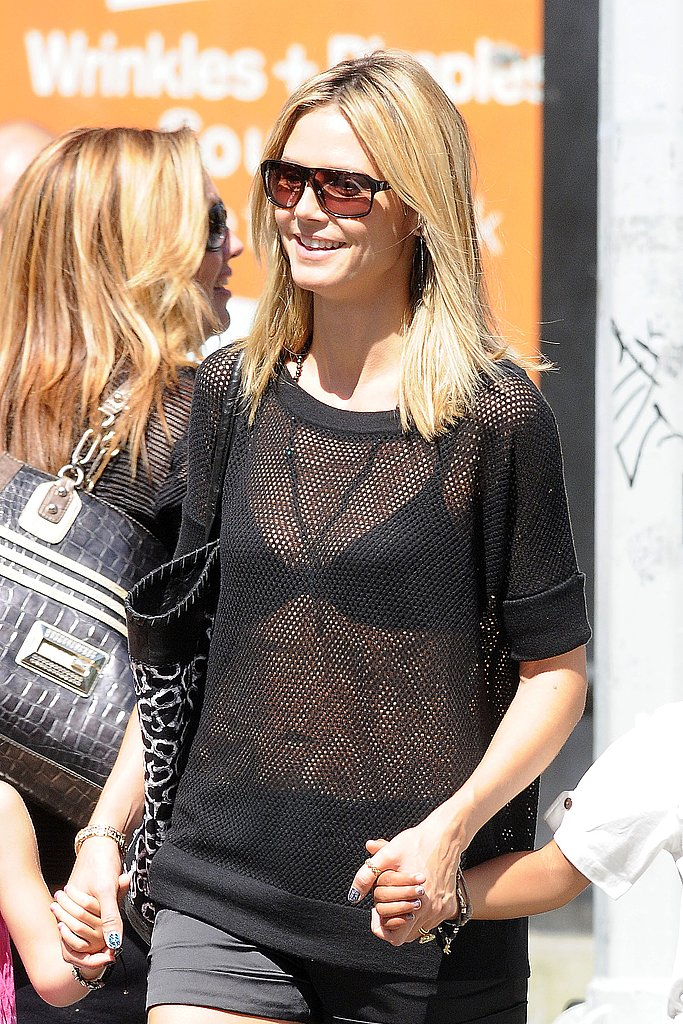 Heidi Klum wore a see-through shirt.