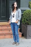 Courteney Cox went casual in jeans and sandals.