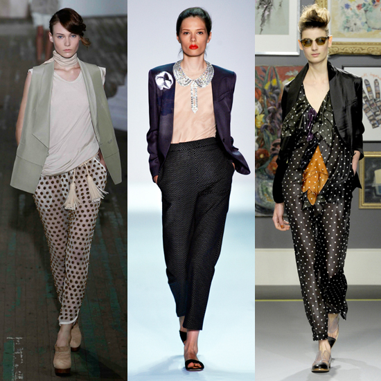 The style hit big for Spring 2011, making appearances on the runways of several designers. Here, a sheer black-on-white pair from 3.1 Phillip Lim (left), a small-scale print from Isaac Mizrahi (center), and a slinky style from Paul Smith (right).   Shop similar styles: