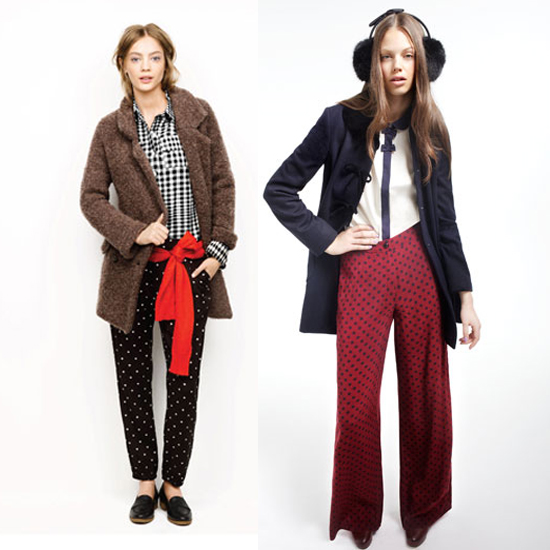 Two styles available for Fall 2011. A straight-legged pair from Madewell (left), and a wide maroon version — reminiscent of Vuitton's 2009 offering — from Topshop (right).