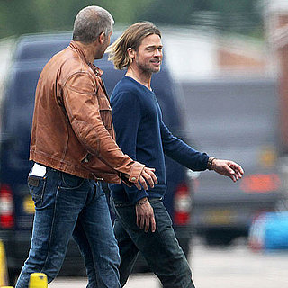 Pictures of Brad Pitt on the London, UK, set of World War Z