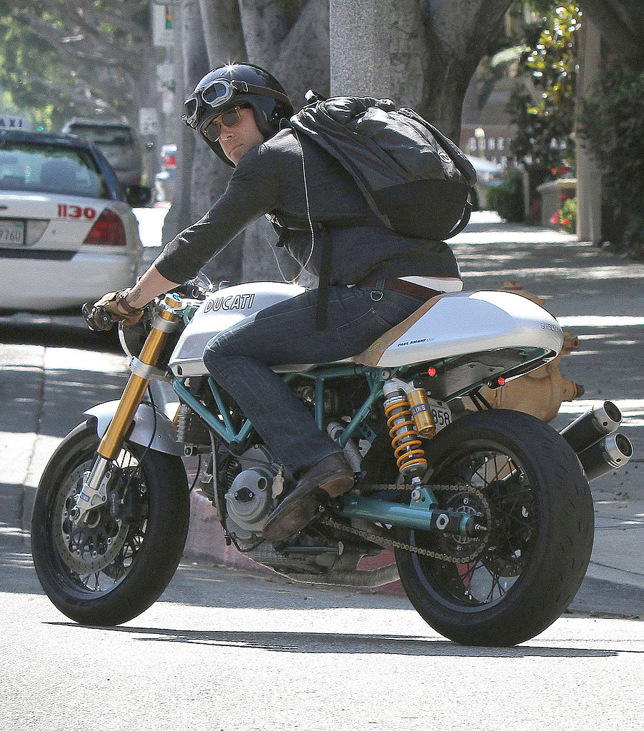 Ryan Reynolds hopped on his custom motorcycle after a meeting in LA.