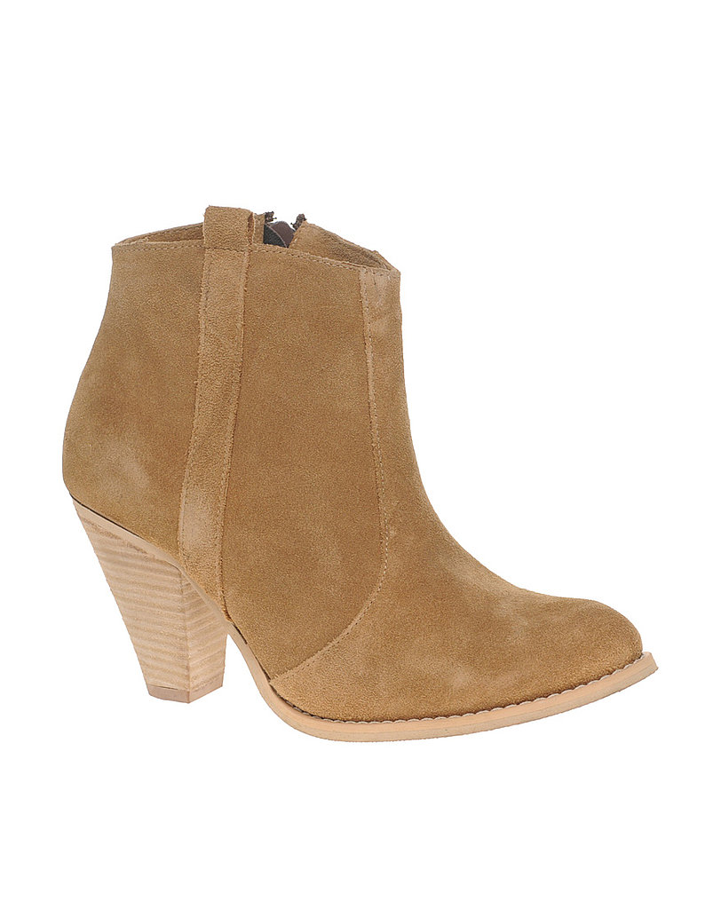 Go-anywhere booties that hint at farm life — with city appeal.   Asos Aggie Suede Pull Casual Heel Ankle Boot ($77)