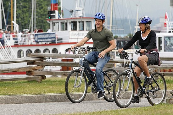 Matt rode bikes with his mom, Nancy.