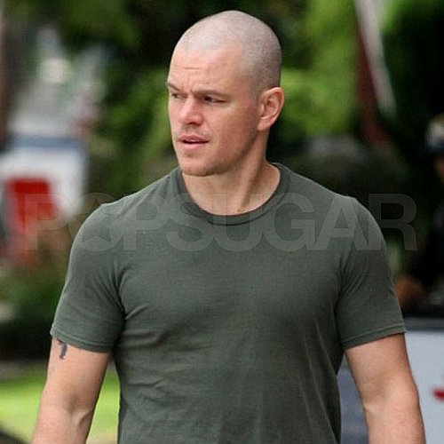 Matt Damon Pictures With a Bald Head 2011-07-20 12:15:27