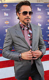Robert Downey Jr. chose a bold shirt and tie.